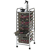 VonHaus 10 Drawer Mobile Storage Trolley for Home & Office / Hair Dressers & Beauty Stylists in Black