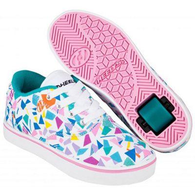 Heelys Launch White/Teal/Multi Geo Kids Heely Shoe UK 3
