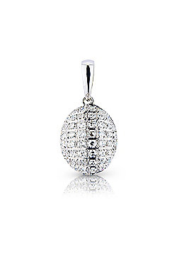 Jewelco London 9ct White Gold - Diamond - Oval Charm Pendant -