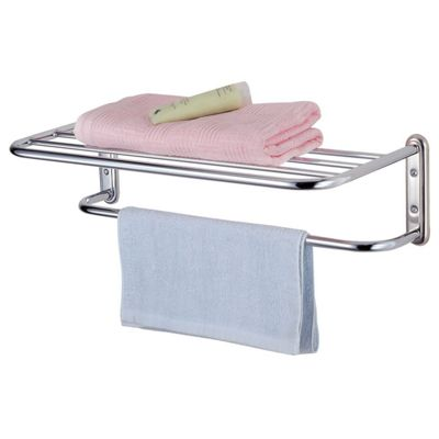 Chrome Wall Mounted Storage Shelf With Towel Rail