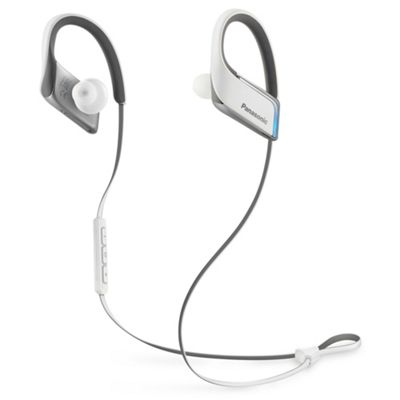Panasonic Premium Wireless Bluetooth® In Ear Earbuds Sport Headphones with Mic + Controller, Edge-Lit LEDs, IPX5 Water Resistant - White