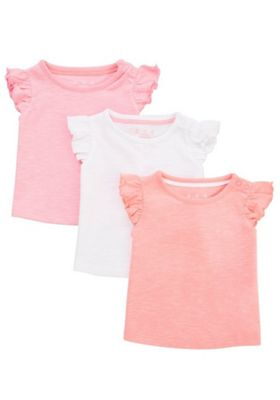 F&F 3 Pack of Plain Frill T-Shirts Multi 0-1 months