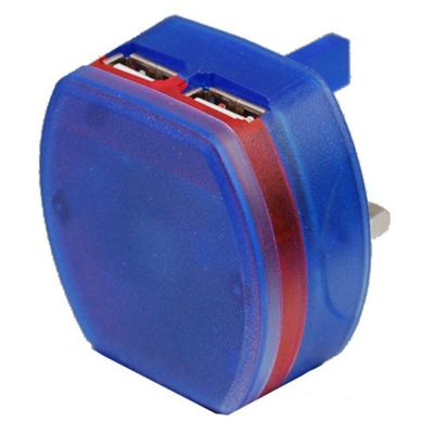 Dual USB At Home LED Compact Charger (Blue) For Amazon Kindle
