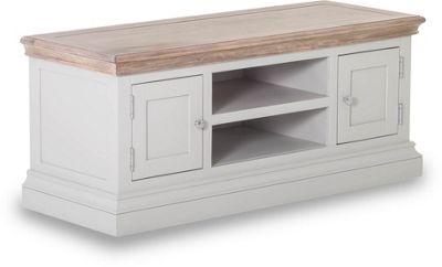 Besp-Oak Rosa 2 Door 1 Shelf TV Unit for up to 50 inch TVs - Chalked Oak and Light Grey
