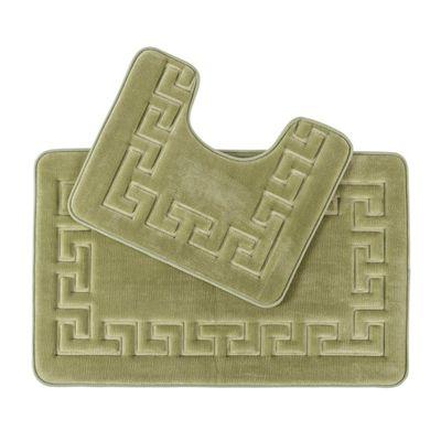 Homescapes Memory Foam Greek Sage Green Bath Mat Set Non Slip Backing