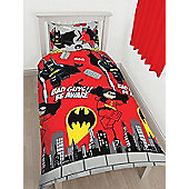 Lego DC Superheroes Batman Kapow Single Duvet Cover Set - Rotary Design