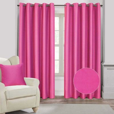 Homescapes Hot Pink Herringbone Chevron Eyelet Style Blackout Curtains, 90x54