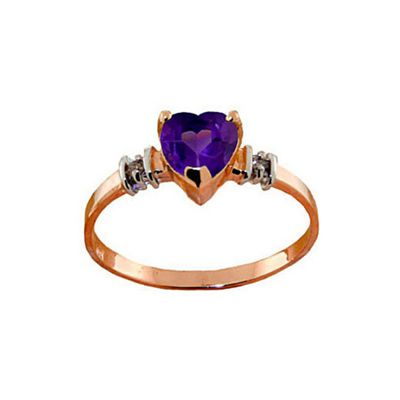 QP Jewellers Diamond & Amethyst Heart Ring in 14K Rose Gold - Size F 1/2