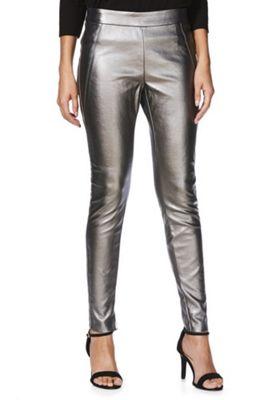 Vero Moda Metallic Coated Leggings L (12-14) 32 Leg Silver