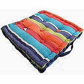 Homescapes Cotton Multicoloured Stripe Floor Cushion, 50 x 50 cm