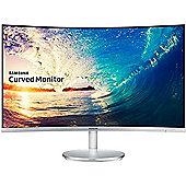 "Samsung CF591 Series C27F591FDU - LED monitor - curved - 27"" - 1920 x 1080 - VA - 250 cd/m2 - 4 ms - HDMI, VGA, DisplayPort - speakers - white silver"