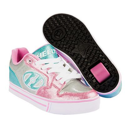 Heelys Motion Plus - Silver/Light Pink/Light Blue - Size - UK 1