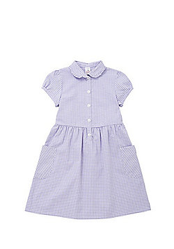 F&F School Ruffle Collar Gingham Dress with Bow Hair Band - Lilac & White