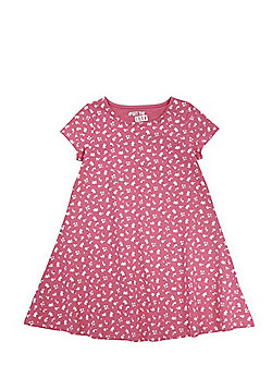 F&F Ditsy Floral Print Swing Dress - Pink