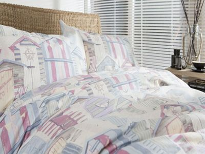 Pink Beach Huts Super King Size Bedding - 100% Cotton, Nautical, Seaside