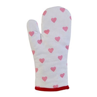 Homescapes Cotton Hearts Red Pink Oven Glove