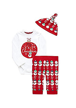 F&F My First Christmas Baby Set - Red & White