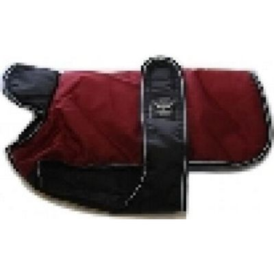 Reflective Belly Cover Dog Coat - Burgundy/Black 18in 45Cm