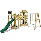 Wickey Hillbilly Farm Wooden Climbing Frame With Green Slide