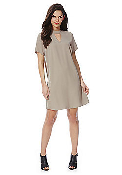F&F Choker Neck Shift Dress - Mink