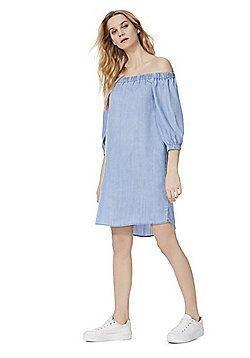Only Off The Shoulder Denim Dress - Blue