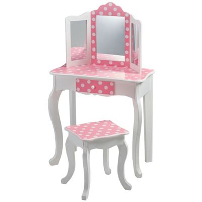 Teamson Kids - Polka Dot Vanity Table & Stool (Pink/White)
