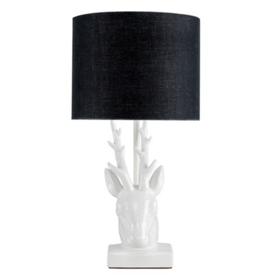 48cm Ceramic Stags Head Table Lamp - White & Black