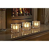 Auraglow Set of 4 Luxury Frosted Polished Glass LED Tea Light Candle Holders - Harpenden
