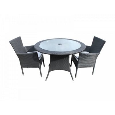Cambridge 2 Non-Reclining Chairs And Small Round Table Set in Black and Vanilla
