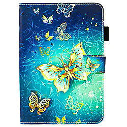 iPad Mini 4 Vibrant and Unique Gold Butterfly Cover Case - Blue