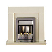 Adam Palermo Cream Electric Fireplace Suite