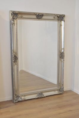 6Ft X 4Ft (183 X 122Cm) Beautiful Large Silver Decorative Ornate Wall Mirror