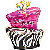 Funky Zebra Birthday Cake Shaped Balloon - 41 inch Foil