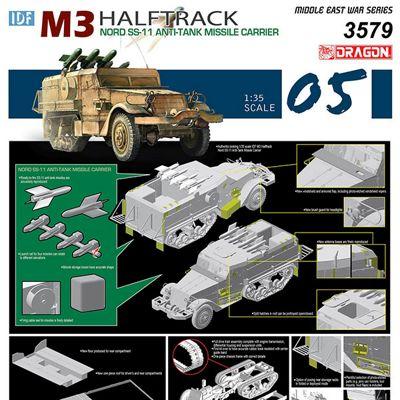 DRAGON 3579 IDF M3 Half Track Nord SS11 AntiTank Missile Carrier 1:35 Model Kit