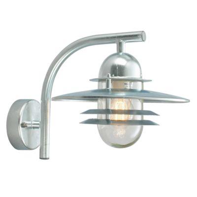 Galvanised Wall Lantern Clear - 1 x 75W E27