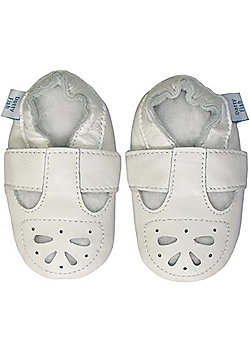 Dotty Fish Soft Leather Baby Shoe - White Mary-Jane Sandal - White