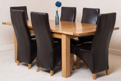 Seattle Solid Oak Extending 150 - 210 cm Dining Table with 6 Brown Lola Leather Chairs
