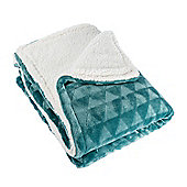 Homescapes Teal Geometric Triangle Velvet Throw, 160 x 200cm