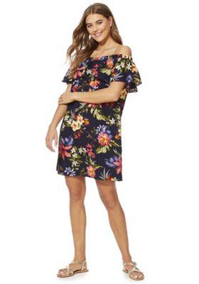F&F Floral Ruffle Bardot Dress Navy Multi 22