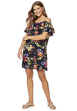F&F Floral Ruffle Bardot Dress - Navy Multi