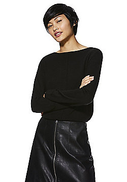 F&F Round Neck Front Seam Jumper - Black