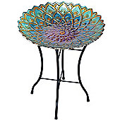 Outdoor 18-Inch Mosaic Flower Fusion Glass BirdBath w/ Stand