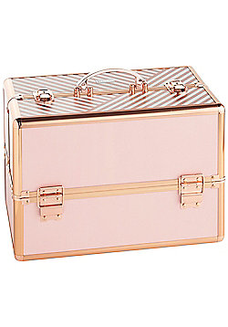 Beautify Large Striped Blush Pink Lockable Vanity Make Up Beauty Storage Case
