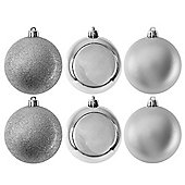 Pack of 6 Glitter, Matte & Shiny Silver 8cm Christmas Baubles