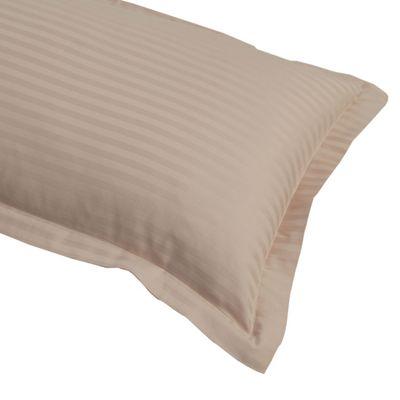 Homescapes Taupe Beige Egyptian Cotton Satin Stripe Oxford Pillowcase 330 TC, King Size Pillow Cover