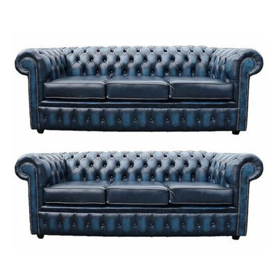 Chesterfield 3+3 Leather Sofa antique Blue