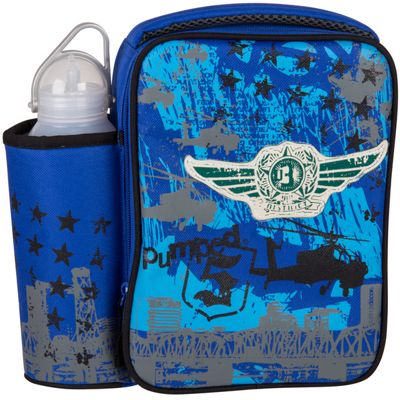 Children's Blue Army Lunch Bag with Water Bottle