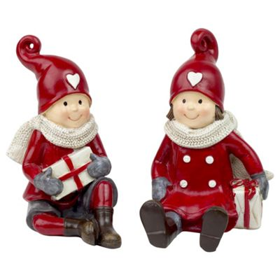 Set of 2 Sitting Red & White Christmas Children Ornaments