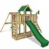 Wickey Twinflyer Wooden Climbing Frame With Green Slide