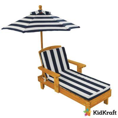 KidKraft Children's Outdoor Wooden Chaise with Umbrella - Navy